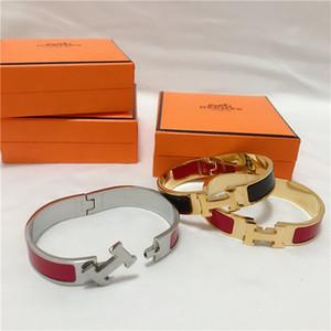 Alta calidad de la plata del oro de lujo de la joyería del esmalteHpulseras talladas de mujeres hombres pulsera decorativa patrón con la caja 8999