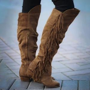 Botas Mujer Damenkleidung Rom Fringe Overknee-Stiefel hoch Platz Absatz-Schuhe zapatos de mujer Winterstiefel Frauen 30