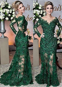 2019 Modest Sheer Long Sleeves Slim Mermaid Evening Dresses Lace Appliques Long Ocasión especial Vestidos de fiesta Vestidos De Soiree