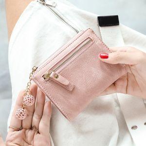 Novo Design Womens Wallet RFID Bloqueio de couro das mulheres pequenas titular do cartão Mini Carteira com bolso com zíper