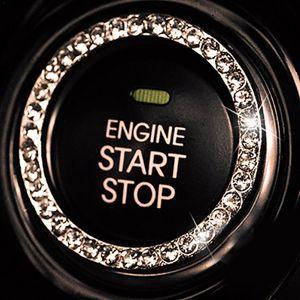 10x Acessórios Do Interruptor de Ignição Do Carro Botão de Partida do Motor Parar Botão Botão Interruptor Chave Cristais Espumantes Guarnição Do Anel Decorativo