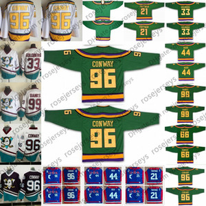 Les Mighty Ducks Film Green Green Vintage Jerseys 96 Charlie Conway 99 Adam Banks 33 Greg Goldberg 21 Dean Portman Bombay Fulton Reed