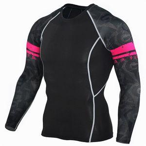 New Langarm-Sport-Shirt Männer Quik Dry Männer Runing Tshirts Snke Gym Kleidung Fitnes Spitze Männer Rashgard Fußball Jersey