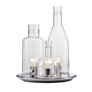 Botella de vino moderna Cromo Claro Metal Vidrio Lámpara de mesa creativa lámpara de escritorio del arte en Fixture TA103