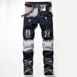 Distrressed brancos azuis Buracos estiramento longa dos homens Jeans regular Mid cintura reta calças dos homens Moda masculina Vestuário