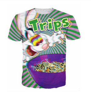 Shiny T Shirt Herren / Damen 3D Grün Schwarz T-Shirt Unisex trippy lebendige Trix Rabbit psychedelisch bedruckte Streetwear Herren Kurzarm T-Shirt