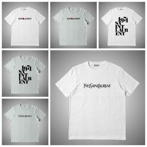 Yves Saint laurent YSL Marque de mode T-shirt Homme T-shirts Lettre broderie Impression Hommes ronde Casual Neck femmes T-shirts Chemises d'été T-Top # 678232