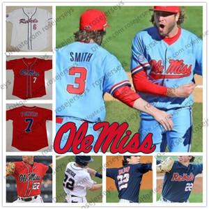NCAA Ole Miss Rebels # 3 Anthony Servideo 9 Michael Spears 20 Will Ethridge 25 Tim Elko Blanco Rojo Azul marino 2019 Béisbol Jersey