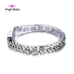 Fashion New Link Chain Stainless Steel Bangles Women 8.5MM Wide Mens Buddha Bracelet 2018 Bicycle Chain Wristband