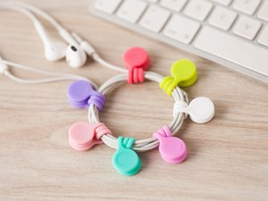 Multifunction Management Silicone Earphone Headphone Cord Winder USB Cable Holder Strap Magnetic Organizer Gather Clips Colorfu 3pcs bag