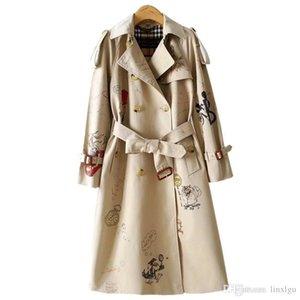المرأة خندق معطف مزدوجة الصدر طويل سترة واقية حزام مقاوم للماء سليم البريطانية معطف الجديدة الراقية الطراز الإنجليزي الكتابة على الجدران 24 M