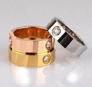 Designer Love Ring Titanium Steel Lover Rings for Women Men Wedding Ring Jewelry Fashion Couples Cubic Zirconia Gold Silver Rose Gold Rings