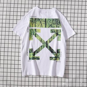 Womens t shirts Summer new OW white short-sleeved tide brand tropical rainforest tree branch arrow print couple half sleeve
