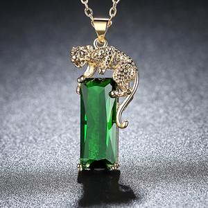 Зеленый Цирконий лаконичным ожерелья Роскошные ювелирные изделия желтого цвета золота Прохладный животных Leopard подвеска ожерелья