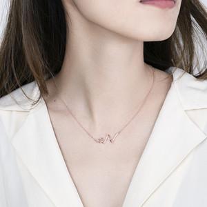 Joyería de bricolaje collar de las mujeres del cardiograma personalizada S925 del corazón collar de plata colgante de hombres de las mujeres mejor regalo Memorial