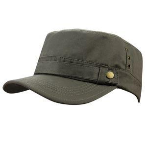 Mens hommes été 100% coton sports de plein air en cours d'exécution cadet plat Top Twill Corps Peaked armée voyage militaire casquette de baseball chapeau casquettes chapeaux