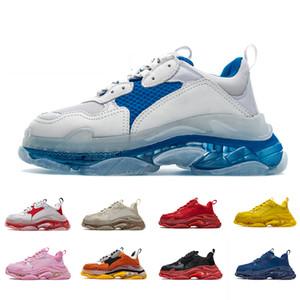 Balenciaga Com Box desenhador 17FW Triple S Adiciona A Clear bolha Midsole Sneakers mens mulheres de néon verde luxo aumentando Marca Casual Dad Calçados