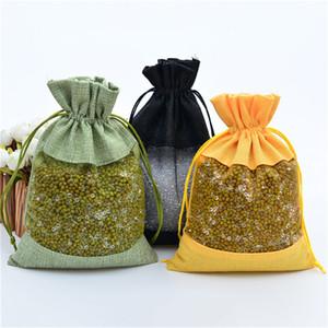 Clear Window Jute-Geschenk-Tasche Leinwand-Partei-Bevorzugung Sack-Beutel-Leinen Kordelzug Beutel Organza Schmuck-Geschenk-Süßigkeit-Beutel