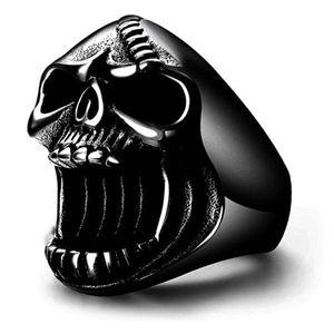 2020011034 Black Skull Rings Gothic Biker Punk Surgical Stainless Steel Mens Ring Beer Bottle Opener for Men