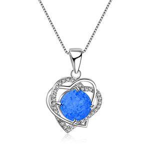 Sterling silver opal fashion jewelry 2019 necklace Beautiful Nice Delicate Birthstond Opal Diamond Rhinestone Heart Necklace Jewelry Couples