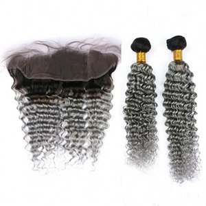 Derin Dalga Brezilyalı Gümüş Gri Ombre İnsan Saç 2 Adet Demetleri ile Frontal 3 Adet Lot 1B / Gri Ombre 13x4 Dantel Frontal Kapatma Örgüleri ile