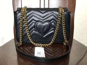 Top Quality 5colors Famous women designer hearts Shoulder bag leather chain bag Cross body Pure color handbag crossbody bag purse 26cm