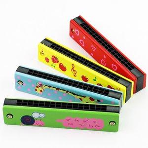 10 Styles aus Holz für Kinder gemalte Harmonica Instrument Cartoon Mehrfarben Harmonica Early Education Aufklärung Instrument L480