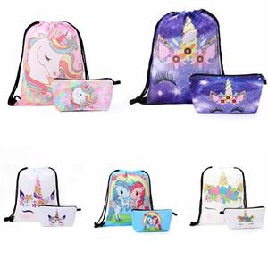 2 pz / lotto stampe unicorno borsa borse con coulisse borse per la spesa all'aperto tasche bundle con astuccio scuola zaino scuola favore regalo FFA2699-A