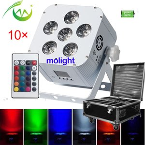 10pcs Wireless dmx DJ Uplighting Battery Power LED Flat Par 6*18W RGBWA UV 6in1 Party Uplights for Weddings with Charging Case