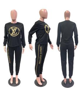Le plus récent des femmes concepteur deux pièces Ens Femmes Survêtement deux pièces ensemble tenues de jogging marque de sport à manches longues pantalons cardigan costumes