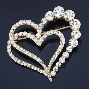 Hanımefendi Aşk Elmas Broş Hediye Kalp Şeklinde Broş Rhinestone Şeftali sayesinde İğne Altın kaplama
