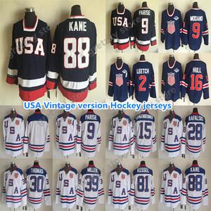 Etats-Unis Équipes Version Vintage Jersey 9 Parise 16 Hull 81 Kessel 9 Modano 2 Leach 30 Thomas 39 Miller excellent Maillots de hockey CCM