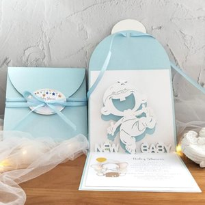 Baby shower invitation card for boy -out 3D Handmade Custom Baby Shower Boy in a -out With Envelope
