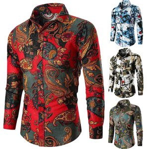 Mode für Männer Slim Fit Floral Langarm-Shirt Baumwollkleid Shirts Casual Tops