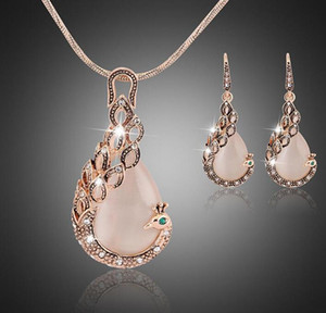 Women ladies peacock crystal rhinestone pendant necklace drop earring set fashion waterdrop jewelry set gift for love GD232