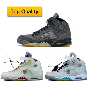 5 OW Yelken Siyah Erkekler Ayakkabı 5 Kapalı Haberler Retro Beyaz Siyah OWBK Kadınlar Basketbol Sneakers Açık Spor ile Kutusu CT8480-001 US7-12