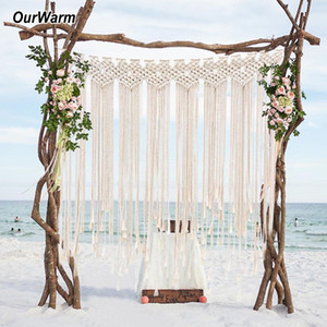 Macrame boda Telón de fondo de muro cortina que cuelga de Boho boda Percha de algodón hecho a mano Arte hogar de la pared decoración de la pared 100 * 115cm
