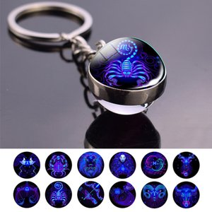 Double Side Glass Ball 12 Zodiac Signs Keychain Metal Key Chain Holder Couples Keychain Gifts Constellation Jewelry Accessories