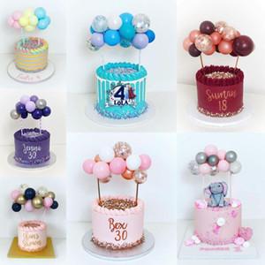 14pcs / set 5inch Latex Ballons Confetti avec ballon bâton de colle Ballon Ruban fête d'anniversaire de gâteau de mariage Topper gâteau décoration