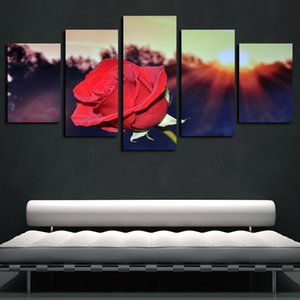 5 Painéis Poster do sol abstrato Rose Red Flowers Obras giclée Canvas Wall Art lona impressão pintura a óleo Wall Decor