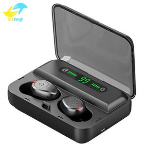 Vitog F9-5 Wireless Bluetooth 5.0 Kopfhörer Kopfhörer Sport in Ohr Tws Headset Noise Ohrhörer mit 1200mAh LED-Anzeige Power Bank