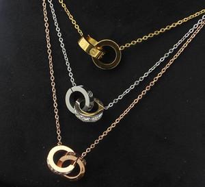 Jóias de aço de titânio atacado Double ring quadrado colar de diamantes Moda selvagem padrão de unhas anel duplo quebrado clavícula de diamantes colar