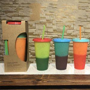 710 ml cambio de Color taza reutilizable beber vaso con tapa y paja Color caramelo verano BEACH BAR CLUB beber tazas taza de café mágica E31601