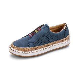 Lucyever Plus Size preguiçosos Sapatos Mulher Primavera 2020 Flock Couros Casual calcanhares mulheres Deslizamento na Plataforma Sneakers Flats Mulher