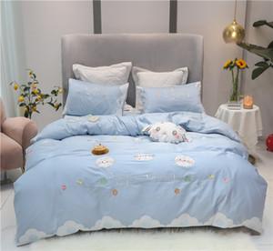 cama frete grátis define bonito sala de algodão 60 longo de pelúcia de algodão bordados quatro peças conjuntos de cama de algodão azul da edredão das crianças dos desenhos animados