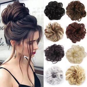 Extensión de la cola de potro Moño Scrunchies sintéticos moño elástica Moño Updo rosquilla falsa postizo de pelo para las mujeres