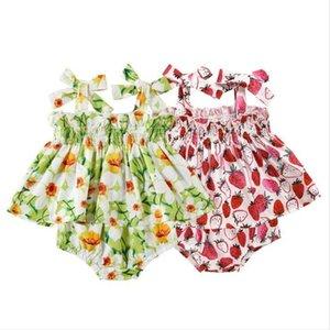 بنات الطفل الفراولة الزهور مطبوعة الملابس مجموعات الصيف أطفال BOWKNOT زلة اللباس السراويل ملابس سروال الطفل الأزياء المحملة فساتين PP مجموعة CYP538
