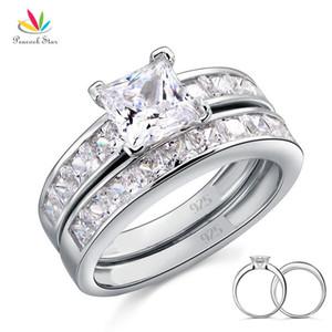 Pavone stella solido argento 925 2-pc che Wedding anello di fidanzamento Set 1 Ct principessa Cut gioielli CFR8020 CJ191216