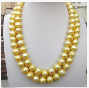 "35 ""ENORME 11-12 MM NATURAL SUD MARE GENUINE GOLDEN PEARL NECKLACE 14K GOLD CLASP"
