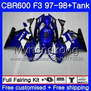 Blue Black 98 Stock + Tank 600 98 CBR ل FS F3 CBR600RR 290HM.4 600F3 97 هوندا CBR CBR600 CBR600F3 97 Body CBR600FS F3 1997 1998 Fairin HSXB